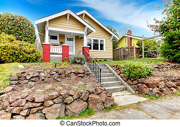 Curb appeal idea - Clapboard siding house with terrace...