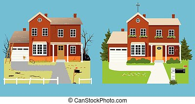 House before and after landscaping with improved curb appeal, EPS 8 vector illustration
