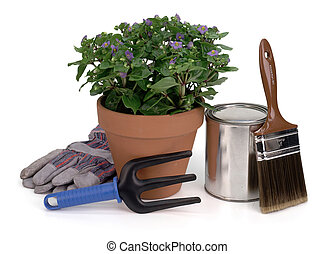curb appeal - potted plant, gardening tool, gloves, paint...