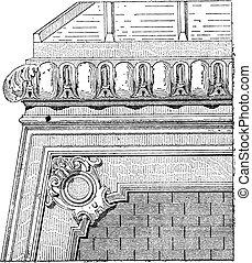 Curb, vintage engraving