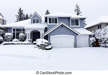 Curbside view of home during winter snowstorm with light snow coming down