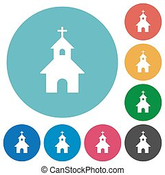 Curch flat round icons