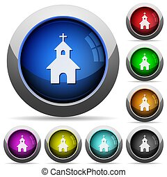Curch round glossy buttons