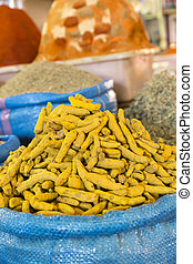 Curcuma spices on a market in Morocco, Africa