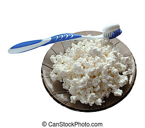 curds with a toothbrush