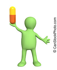 3d puppet with pill. Isolated over white