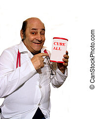 Cure All - , A quack Dr. with a cure all over white, part of...
