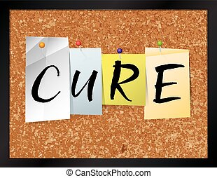 """An illustration of the word """"CURE"""" written on pieces of colored paper pinned to a cork bulletin board. Vector EPS 10 available."""