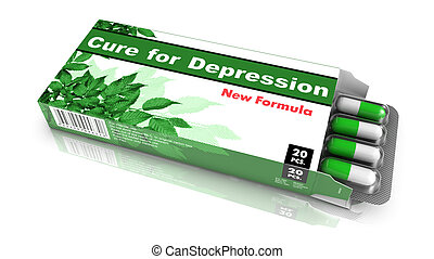 Cure for Depression- Green Open Blister Pack Tablets Isolated on White.