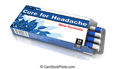 Cure for Headache - Blue Open Blister Pack Tablets Isolated on White.