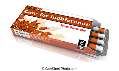Cure for Indifference - Orange Open Blister Pack Tablets Isolated on White.