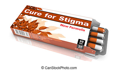 Cure for Stigma-Orange Open Blister Pack Tablets Isolated on White.