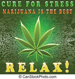 Illustration of marijuana as a symbol of relaxation.