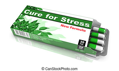 Cure for Stress- Green Open Blister Pack Tablets Isolated on White.