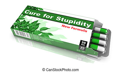 Cure for Stupidity - Green Open Blister Pack Tablets Isolated on White.