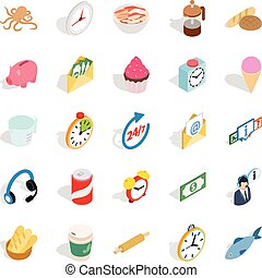 Cure icons set, isometric style
