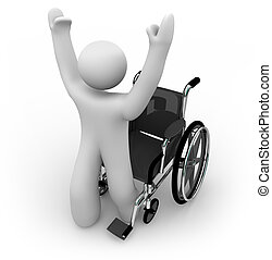 A cured person rises from a wheelchair