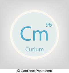 curio, químico, elemento, cm, icono