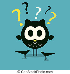 Curios owl background - Curios owl character with birds...