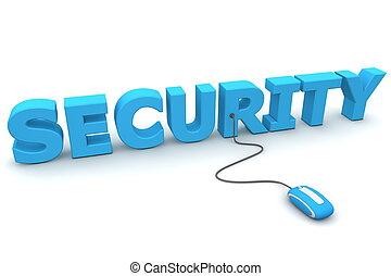 curiosare, con, sicurezza, -, blu, topo
