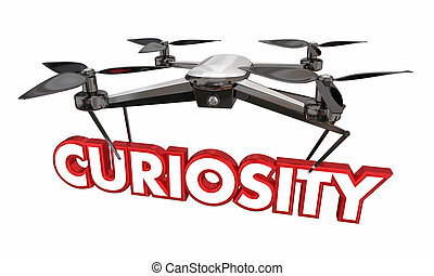 Curiosity Drone Word Camera Spying Surveillance 3d Illustration