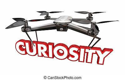 Curiosity Drone Word Camera Spying Surveillance 3d Illustration