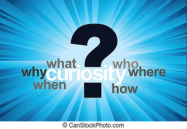 Curiosity concept with question mark and 5W 1H questions, in...