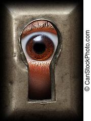 eye in keyhole - curiosity eye in keyhole - spy concept