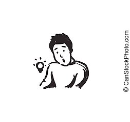 Curiosity feeling icon. Curious man. Outline sketch drawing. Human emotions and feelings concept. Wondering, exciting, idea or eureka expression. Isolated vector illustration. Editable stroke