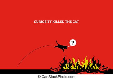 Curiosity kills the cat. - Vector artwork showing a cat jump...
