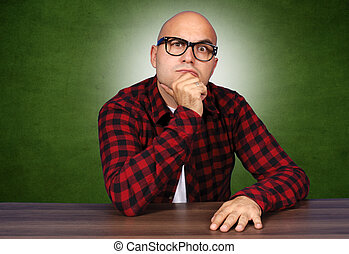 Curiosity man - Curiosity bald man with sunglasses