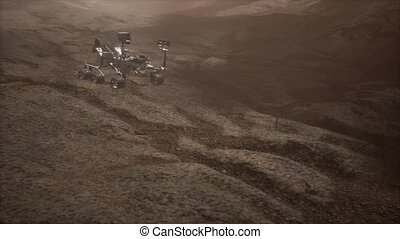 Curiosity Mars Rover exploring the surface of red planet....