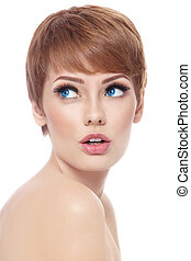 Curiosity - Young beautiful woman with stylish short haircut...