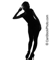 curioso, donna, silhouette, ascolto