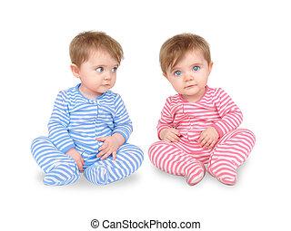 curioso, gêmeo, bebês, branco