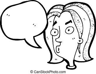 curioso, mujer, expresión, caricatura