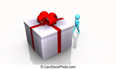 Curious 3D man opening a gift box against a white background...