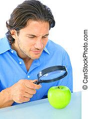 Curious Adult Examine Apple