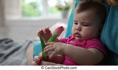 Curious baby girl smelling tulip flower