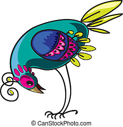 Curious decorative tropical multi-colored bird, design element