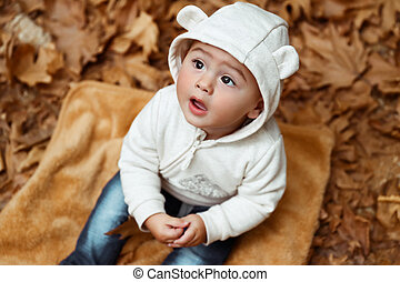 Curious boy in autumn park