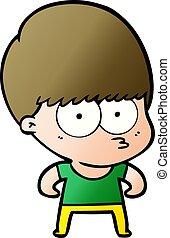 curious cartoon boy