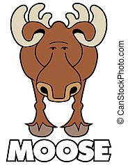 Curious Cartoon Moose - Curious cartoon moose is staring at...
