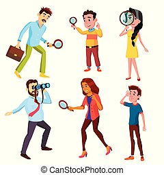 Curious Characters Looking Information Set Vector. Woman And...