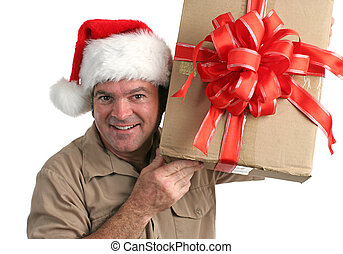Curious Courier 2 - a Christmas delivery man shaking a gift...