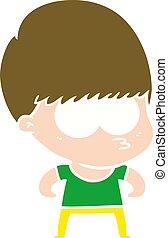curious flat color style cartoon boy