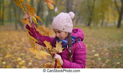 Curious girl tearing yellow maple leaves in autumn -...