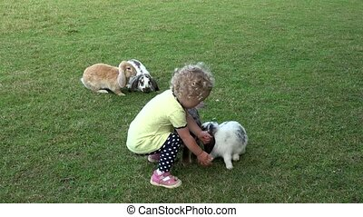 Curious girl with curly hairs have fun between rabbits bunnies in zoo garden