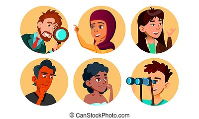 Curious Happy Multicultural Character Set Vector