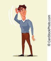 Curious man character overhears strange conversation. Vector flat cartoon illustration
